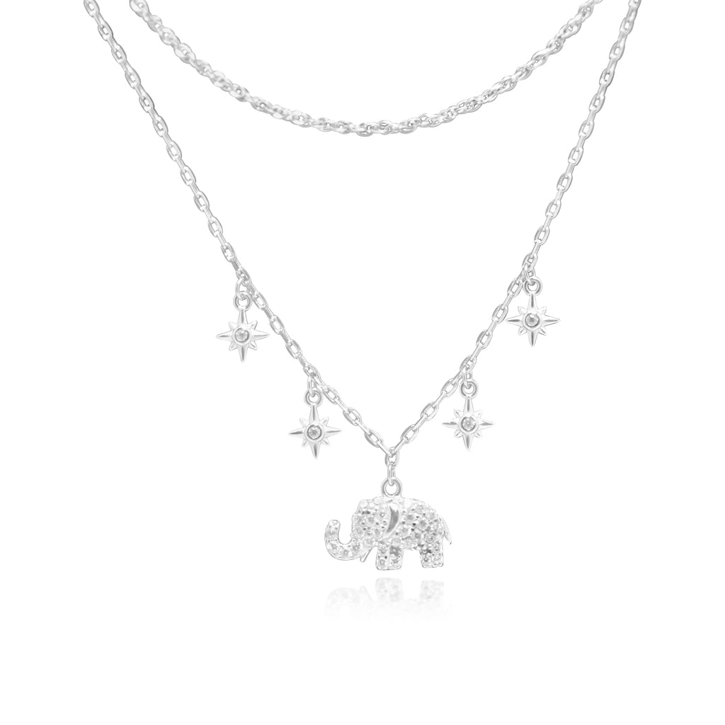 Sterling Silver CZ Elephant W/ Dangle Starburst Stations Double Layer Necklace
