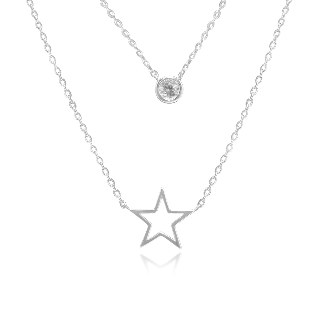 Sterling Silver CZ Station & Polished Open Star Double Layer Necklace and Earring Set