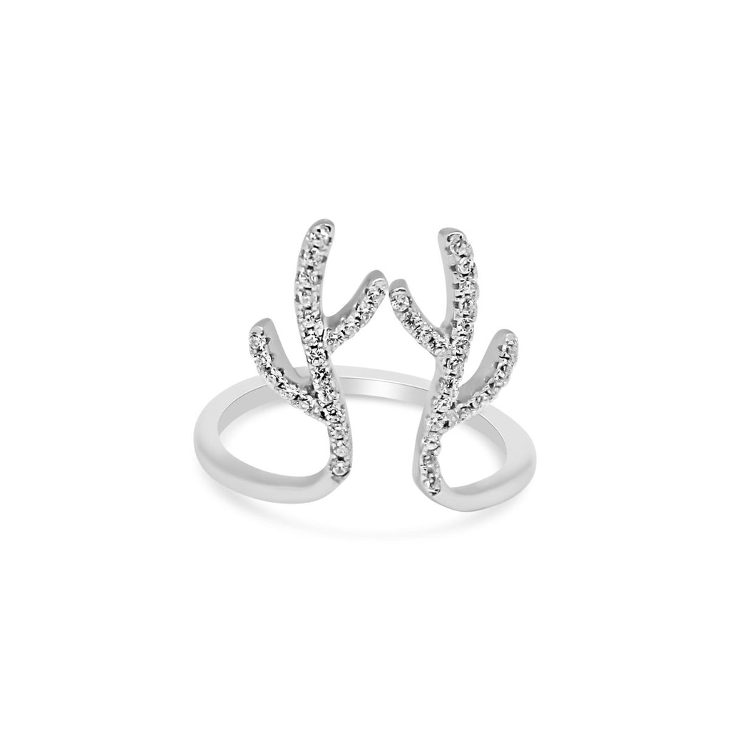 Open Band CZ Antler Ring