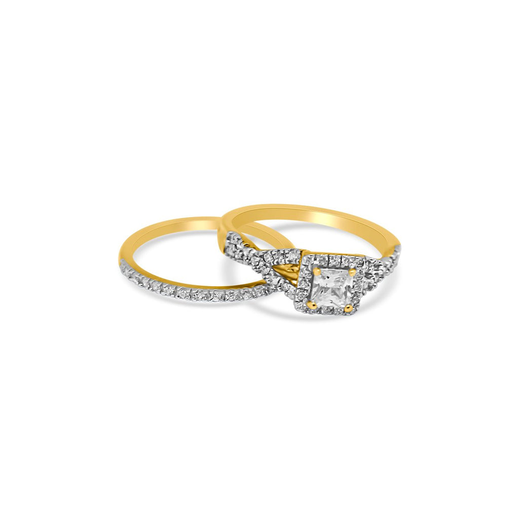 Gold Plated Infinity Square CZ Ring