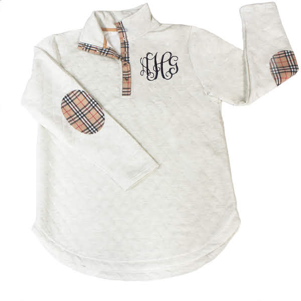 Monogram Plaid Quilted Pullover