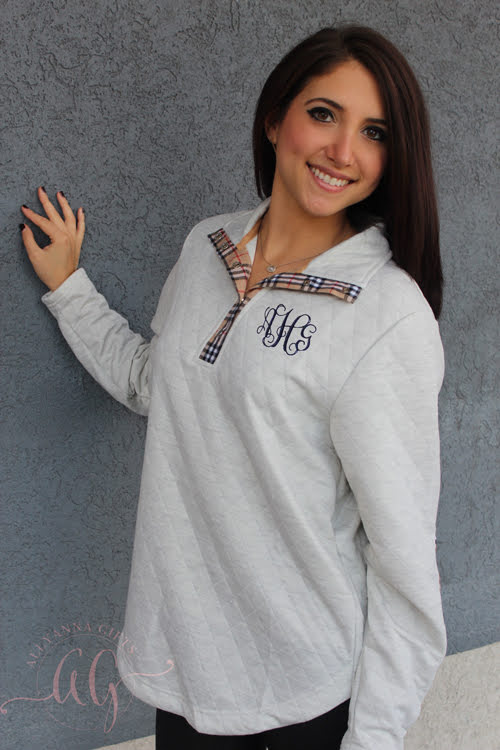 Monogram Plaid Quilted Pullover - Allyanna Gifts
