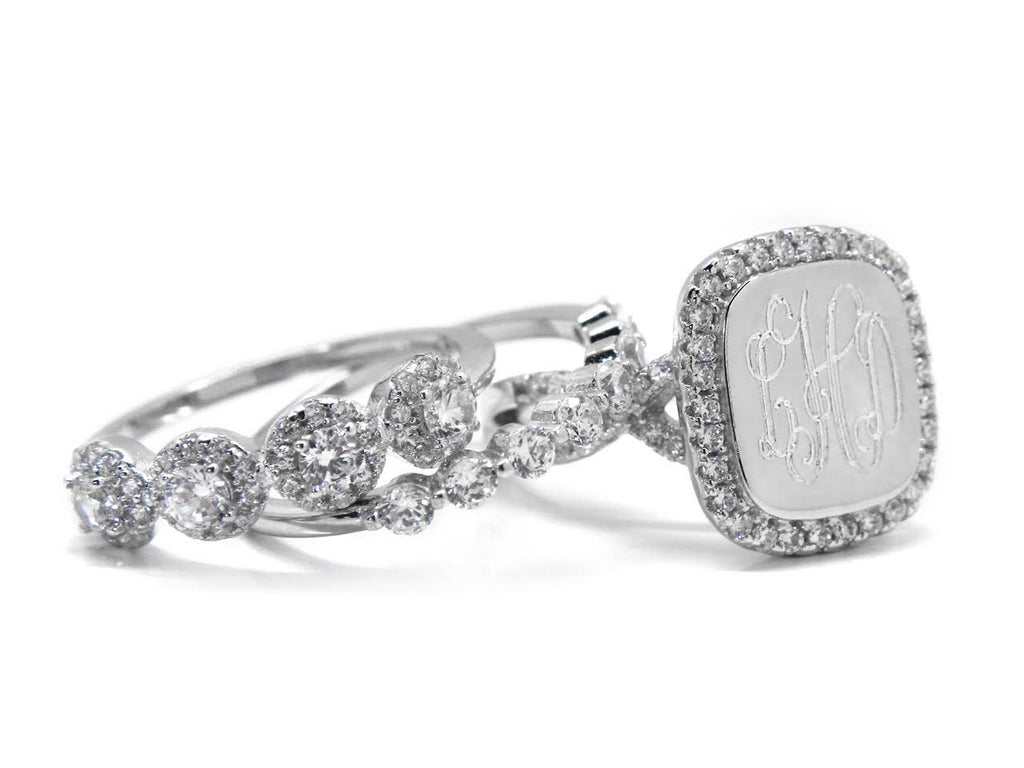 Sterling Silver Luxury CZ Stacked Engravable Ring