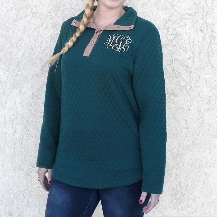 Monogram Quilted Pullover - Allyanna Gifts