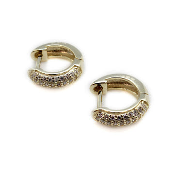 Half CZ Stone Detailed Small Hoop Earrings - Allyanna Gifts