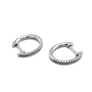 Thin CZ Horseshoe Hoop - Allyanna Gifts