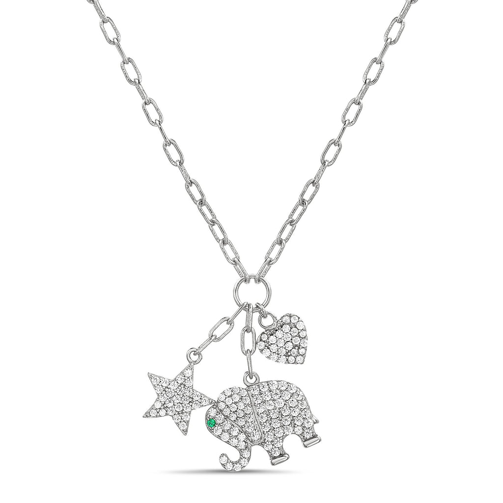 Silver CZ Multi Charm Necklace