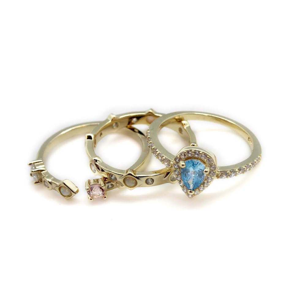 Gold Turquoise Stackable Ring Set - Allyanna Gifts