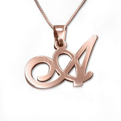 Rose Gold Plated Sterling Silver Initials Pendant-Any Letter! - Allyanna Gifts