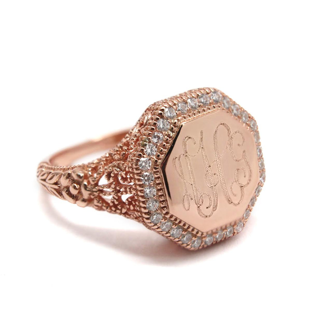 Sterling Silver Engravable Octagon Filigree Ring - Allyanna Gifts
