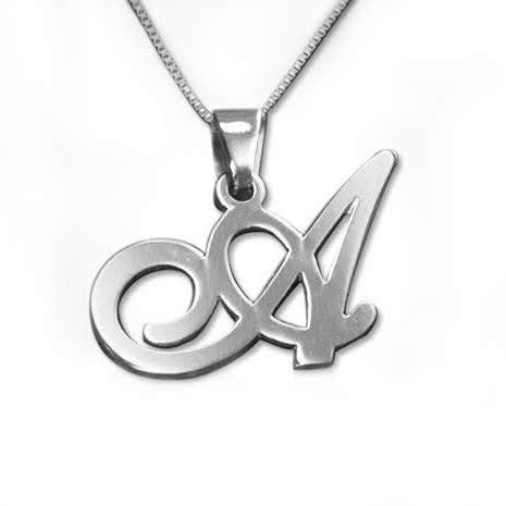Sterling Silver Initials Pendant-Any Letter! - Allyanna Gifts