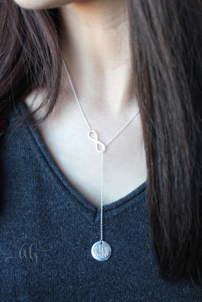 Sterling Silver Engraved Infinity Drop Necklace