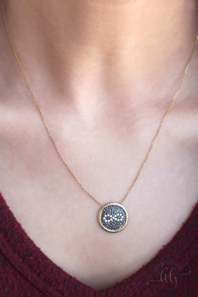 Sterling Silver CZ Infinity Hammered Disc Necklace