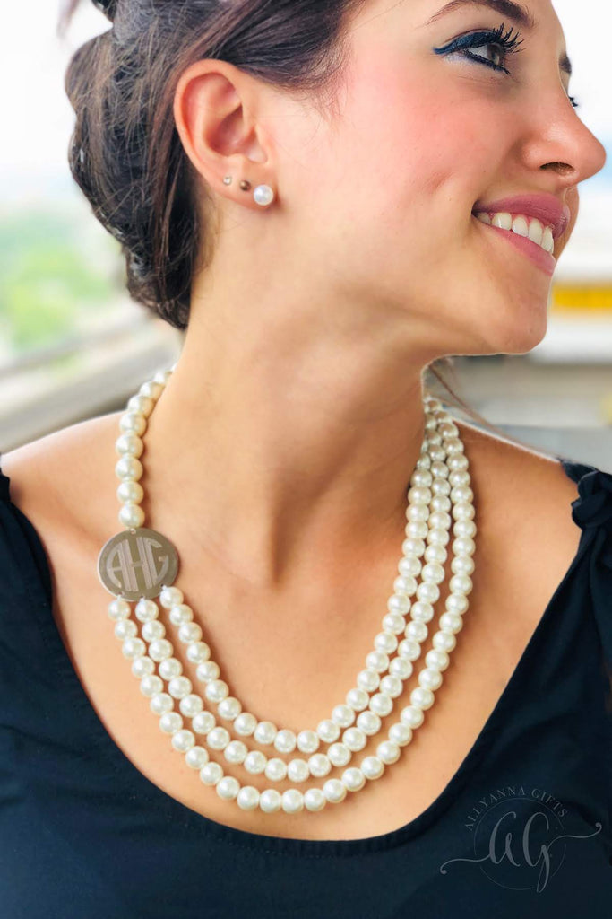 Classic Layered Engravable Pearl Necklace