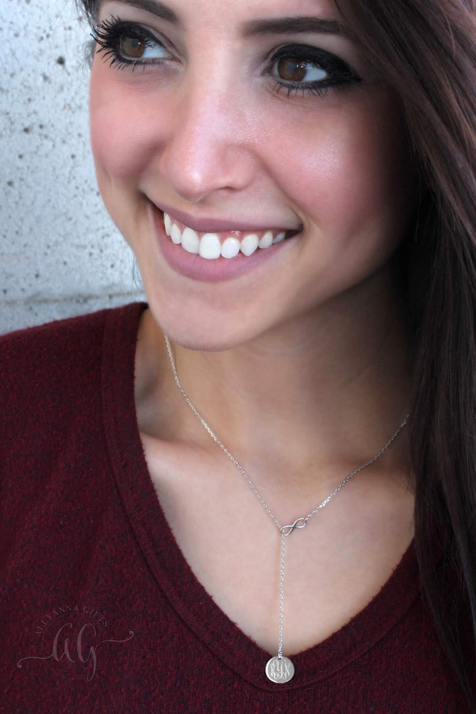 Sterling Silver Small Infinity Drop Necklace - Allyanna Gifts