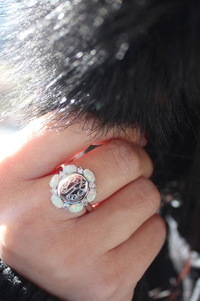 Sterling Silver CZ Opal Flower Ring - Allyanna Gifts