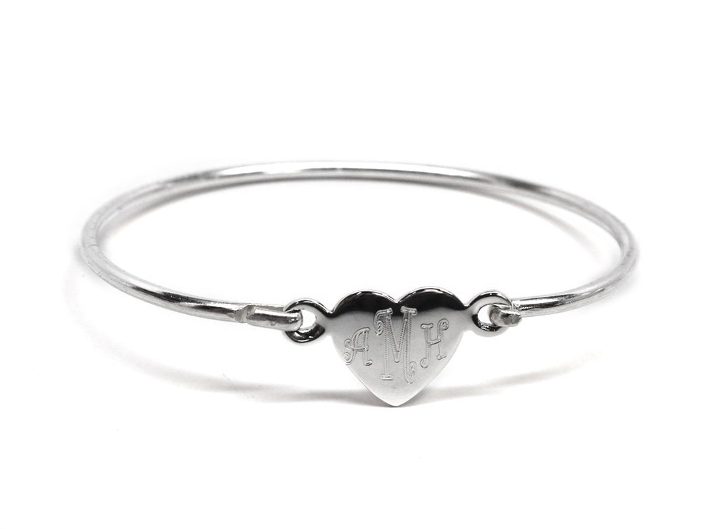 Sterling Silver Engraved Heart Baby Bangle - Allyanna Gifts