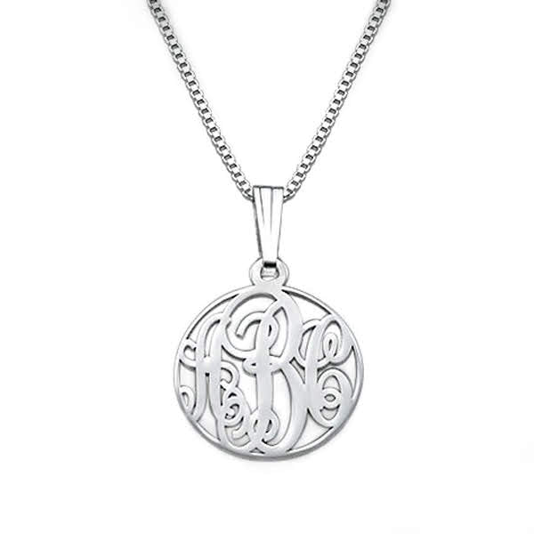 Tiny Sterling Silver Encircled Monogram Necklace