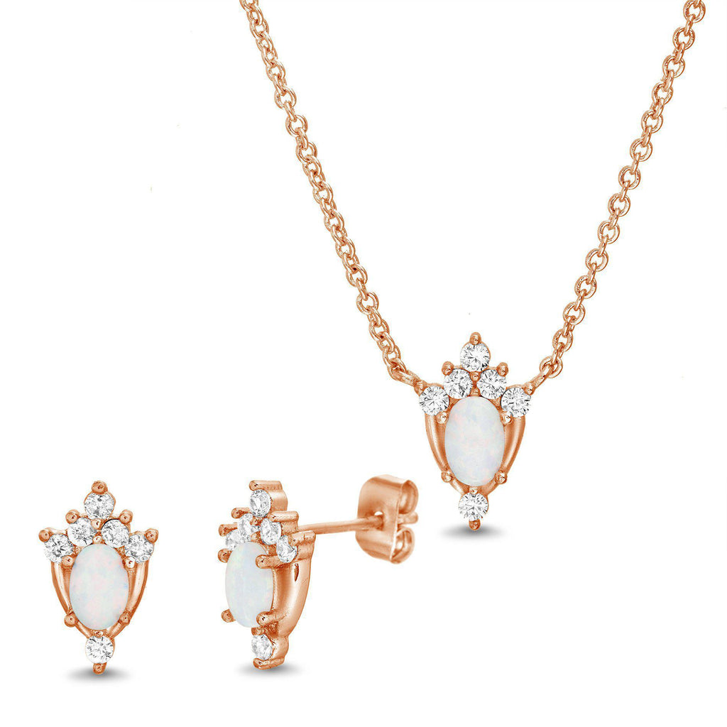 Rose Opal & CZ Accents Earring and Necklace