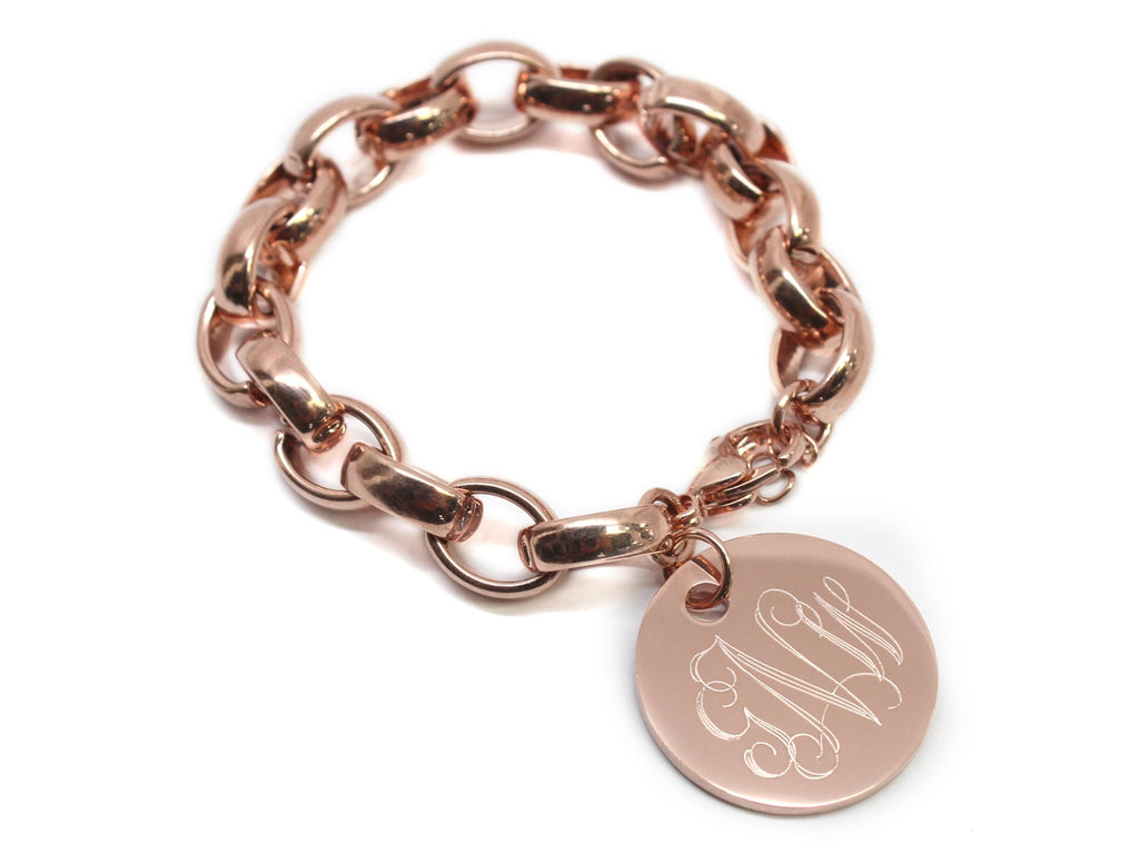 Engraved Stainless Steel Link Bracelet with Monogrammed Disc