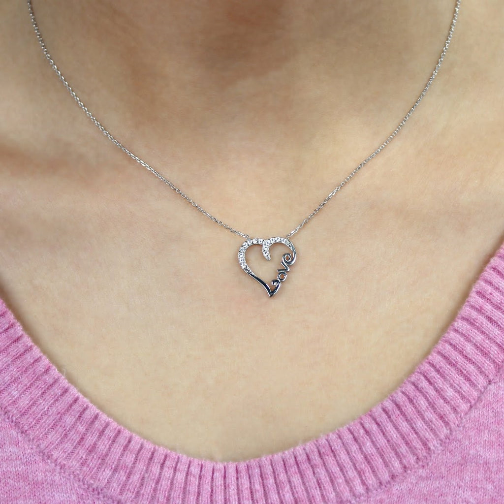 Sterling Silver Love With All Your Heart Necklace - Allyanna Gifts