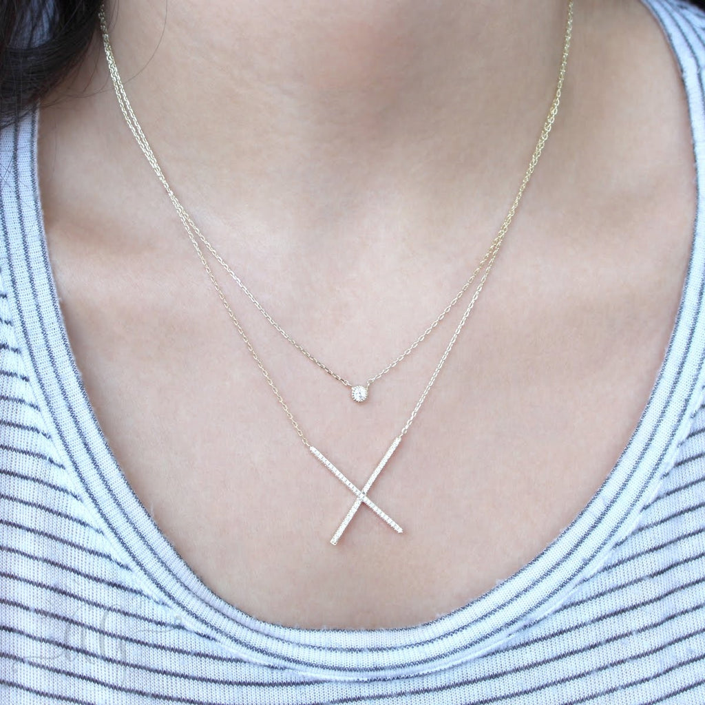 Layered CZ X Sterling Silver Necklace - Allyanna Gifts
