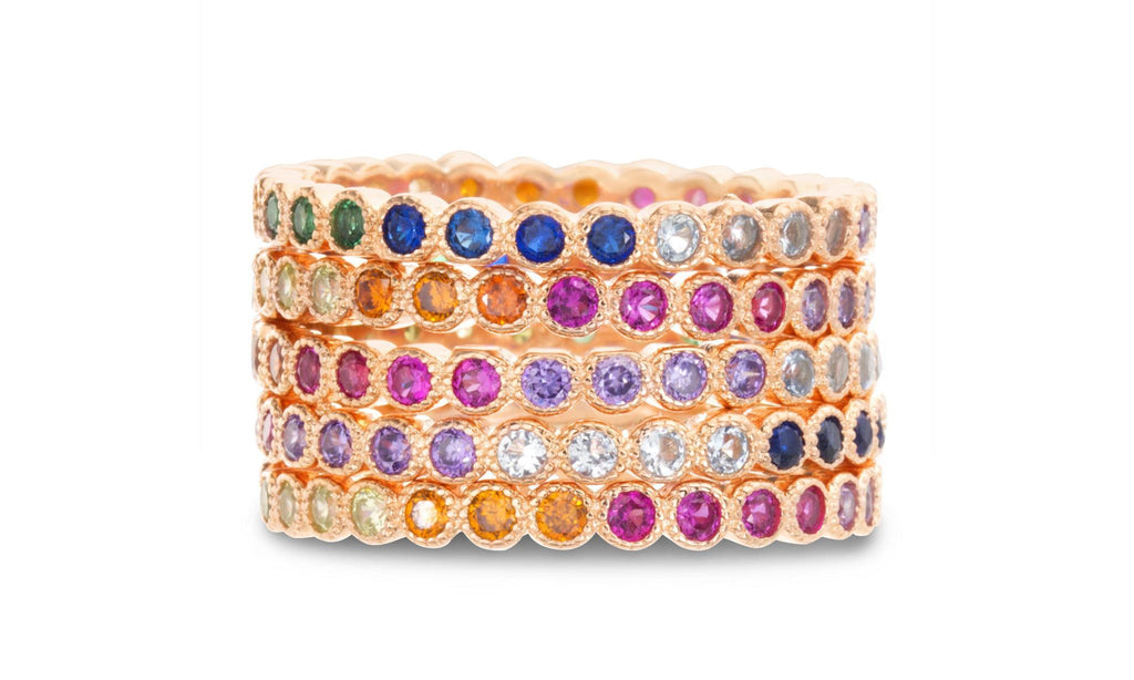 Multicolored Rainbow CZ Round Eternity Stackable 5 Piece Ring Set