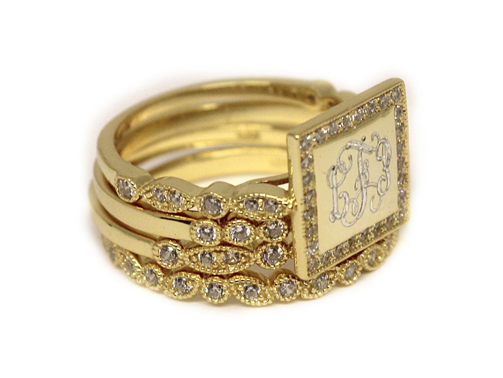 Monogrammed Gold Stackable Sterling Silver Square CZ Rings