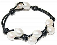 Double Row Pearl Leather Bracelet