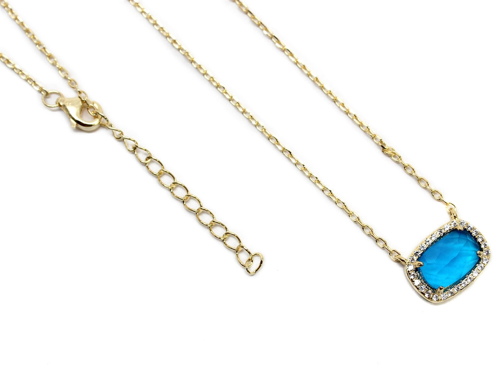 Sterling Silver Blue Gemstone Necklace