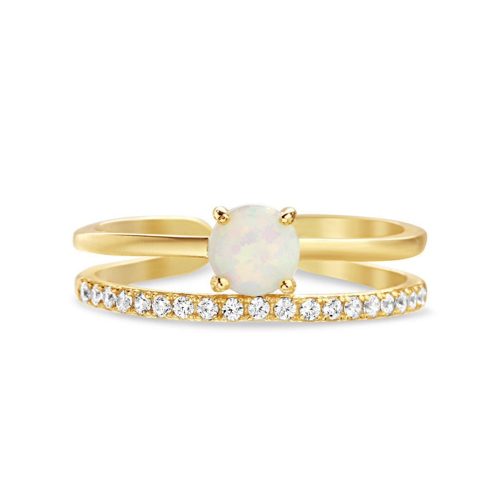 Gold Opal Center W/ CZ Row Open Works Ring