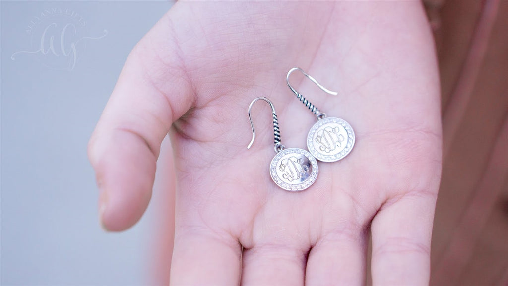Engravable Sterling Silver Round CZ Drop Earrings - Allyanna Gifts