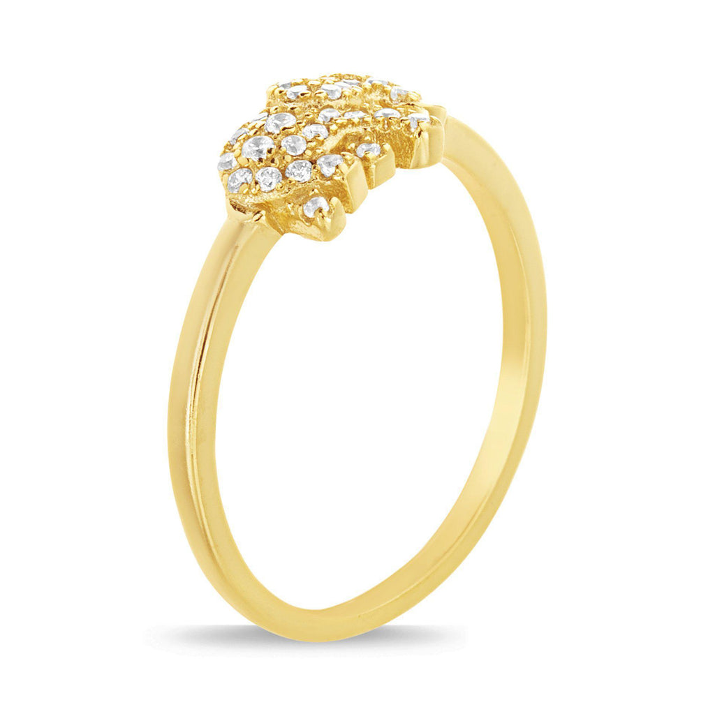 Sterling Silver Gold Pave CZ Elephant Ring