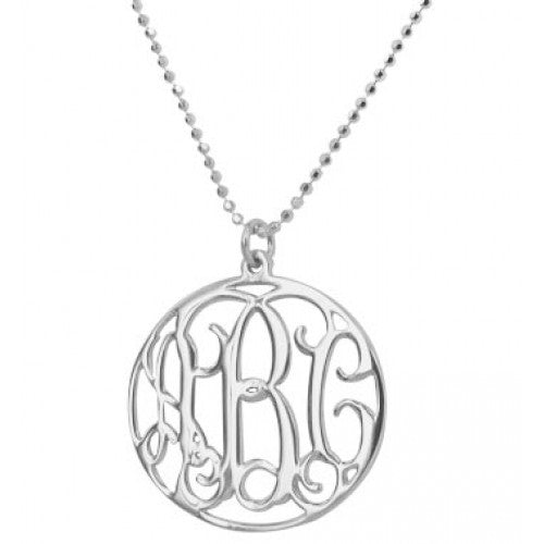Sterling Silver Encircled Monogram Necklace