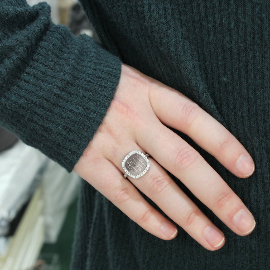 Sterling Silver Engravable Square Straight Band CZ Ring