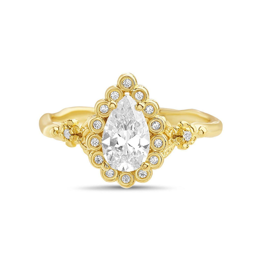 Gold Teardrop Floral Band Ring