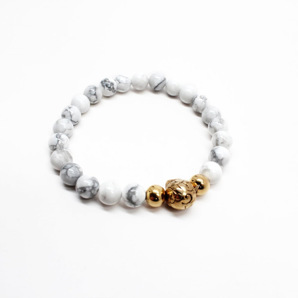 Fossil Agate Men's Beaded Skull Bracelet
