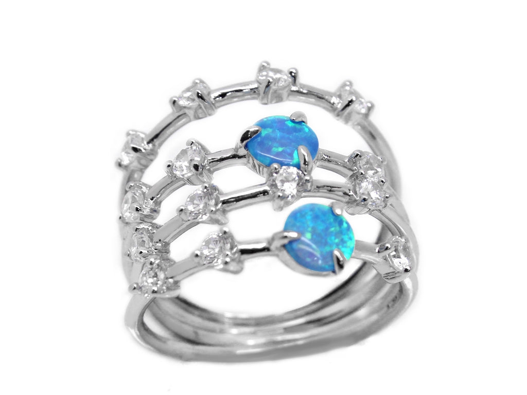 Trendy Sterling Silver Stackable Blue Opal CZ Ring Set