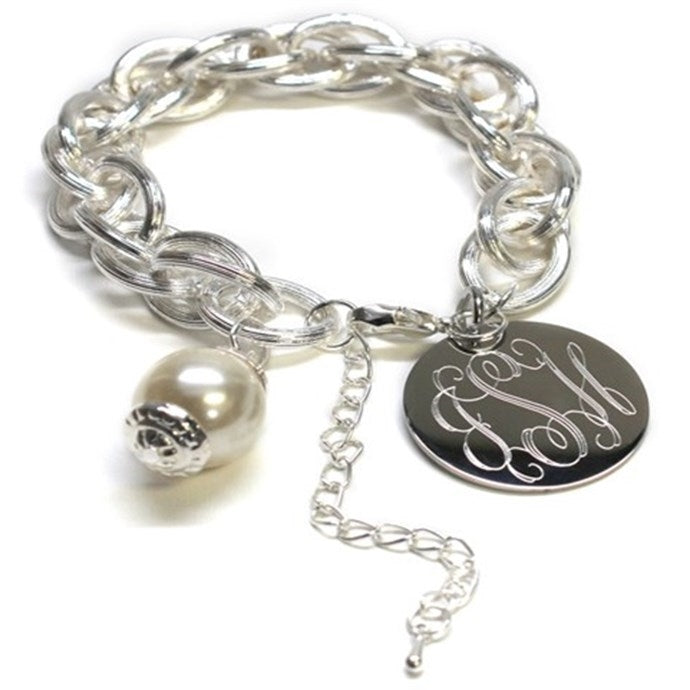Engraved Satin Finish Pearl Bracelet Gold and Silver