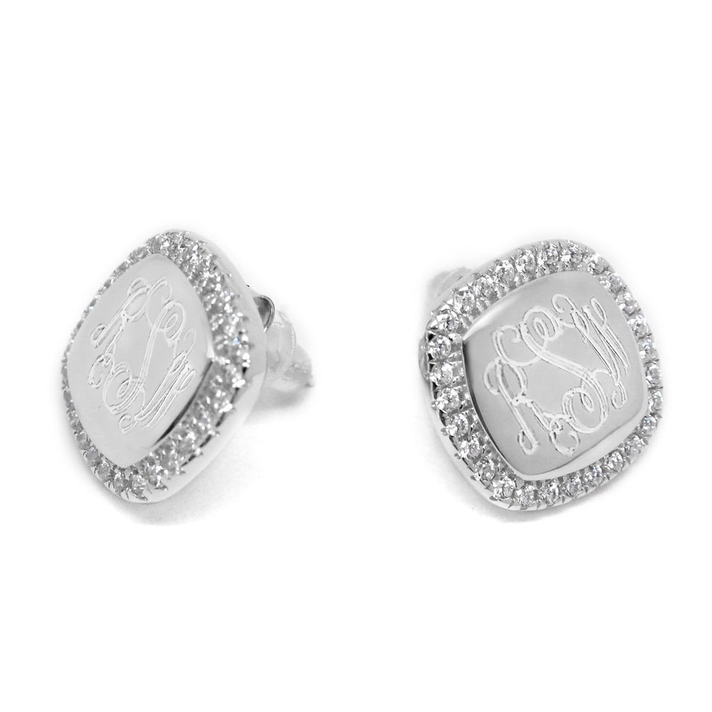 Sterling Silver Engravable Square CZ Earrings