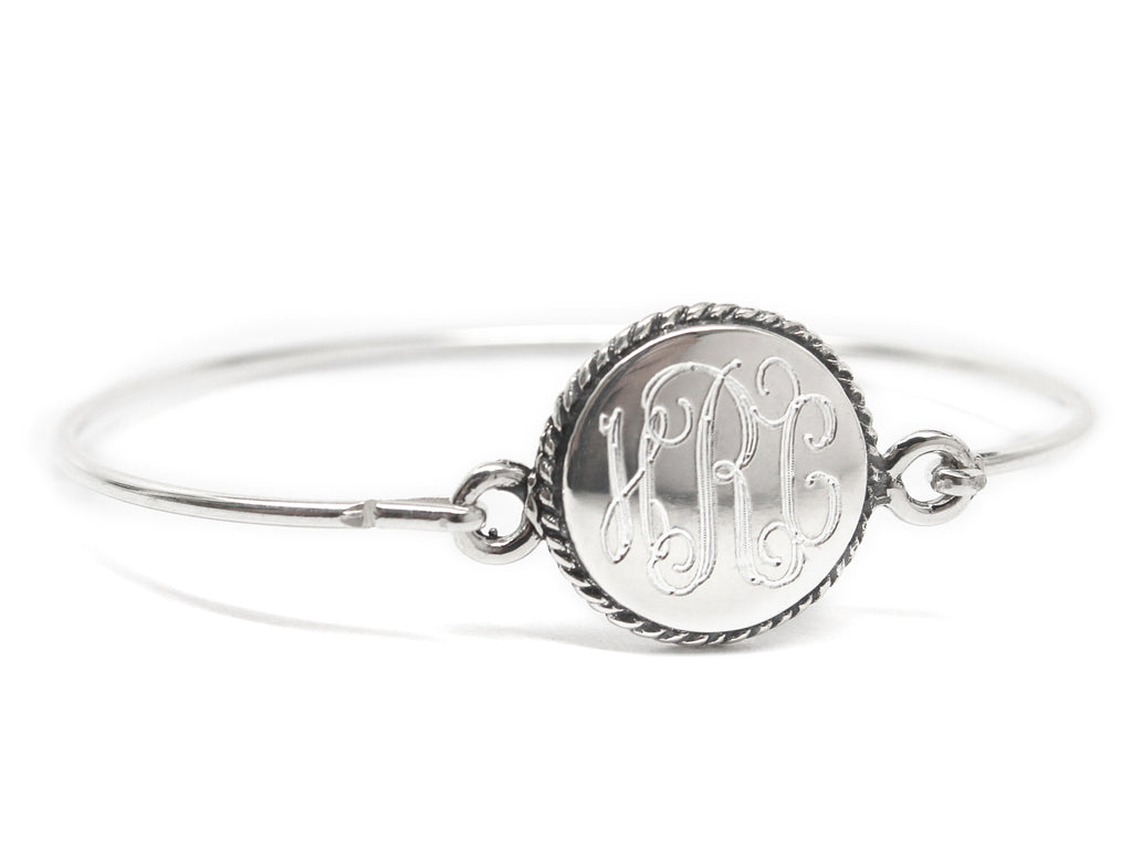 Sterling Silver Engravable Rope Circle Disc Baby Bracelet - Allyanna Gifts