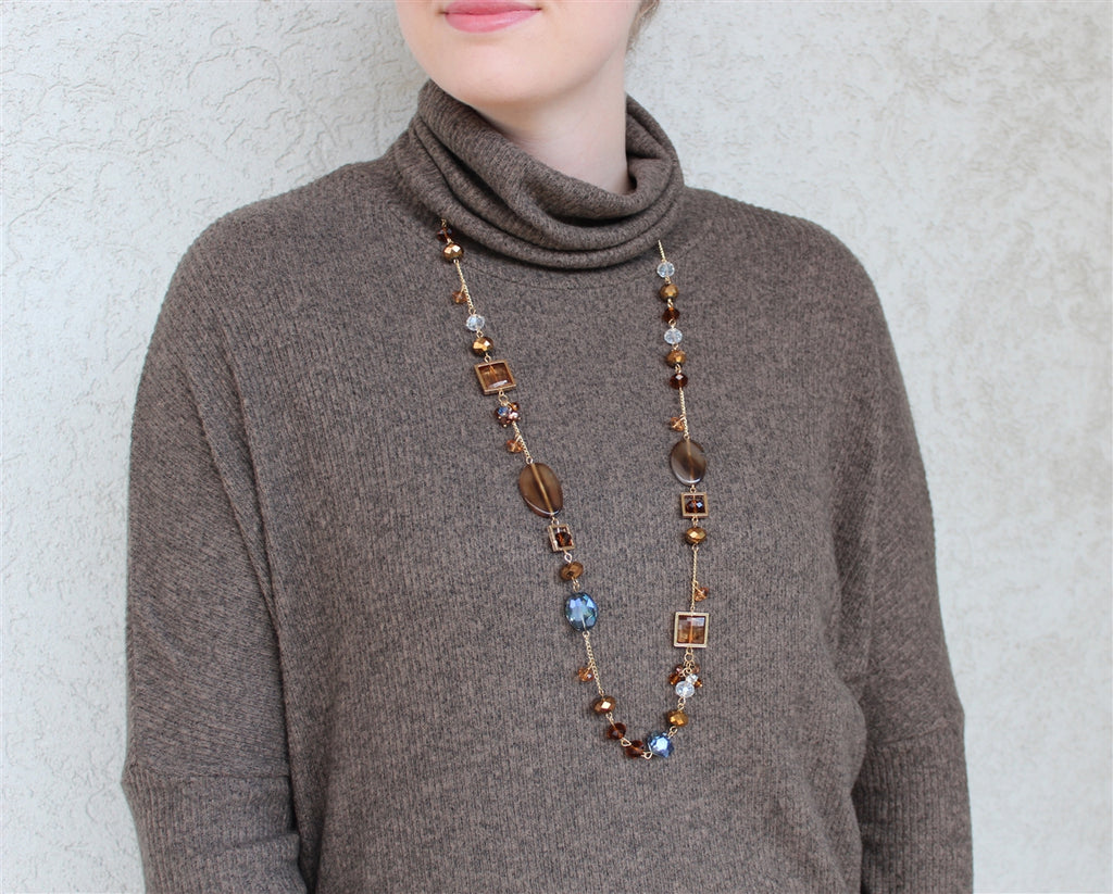 Brown Glass and Agate Stone Gold Chain Necklace