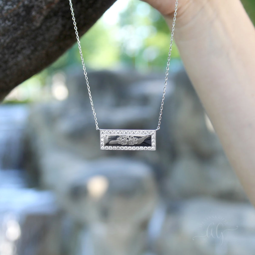 Sterling Silver Bar Engravable CZ Necklace