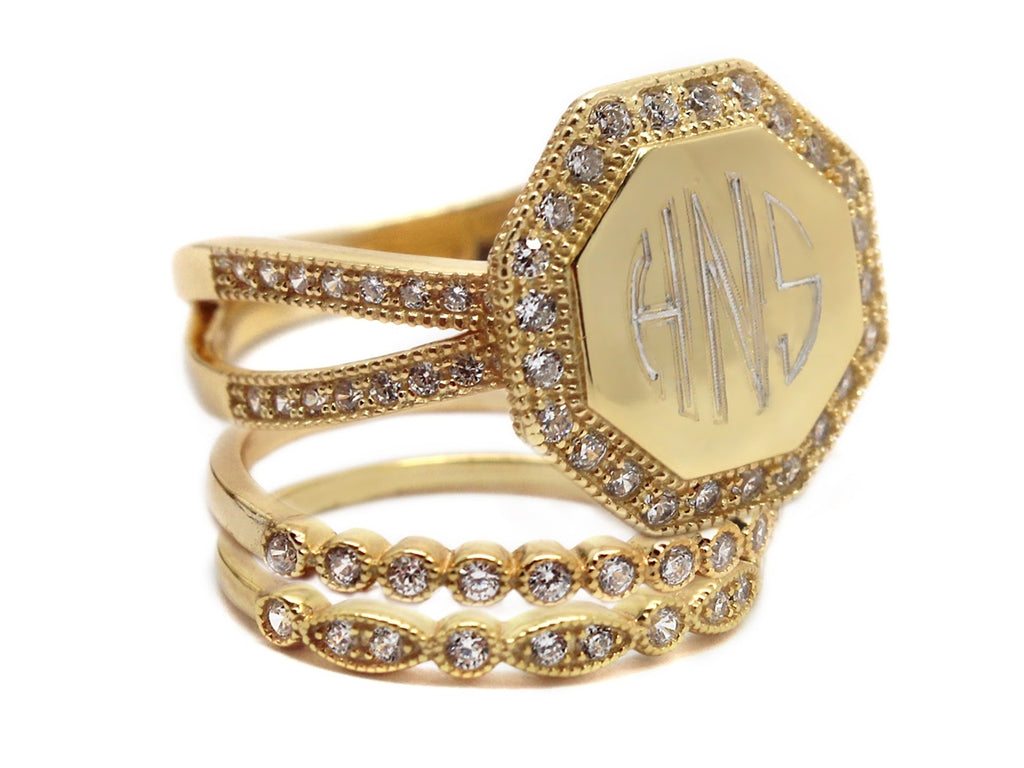 Monogrammed Decorative Stackable Sterling Silver Octagon CZ Ring - Allyanna Gifts