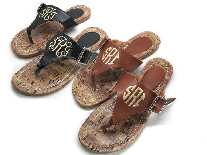 Monogram Leather Thong Sandals - Allyanna Gifts