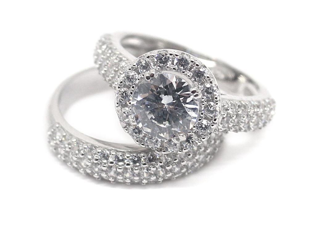Sterling Silver CZ Circle-cut Ring with Double CZ Band