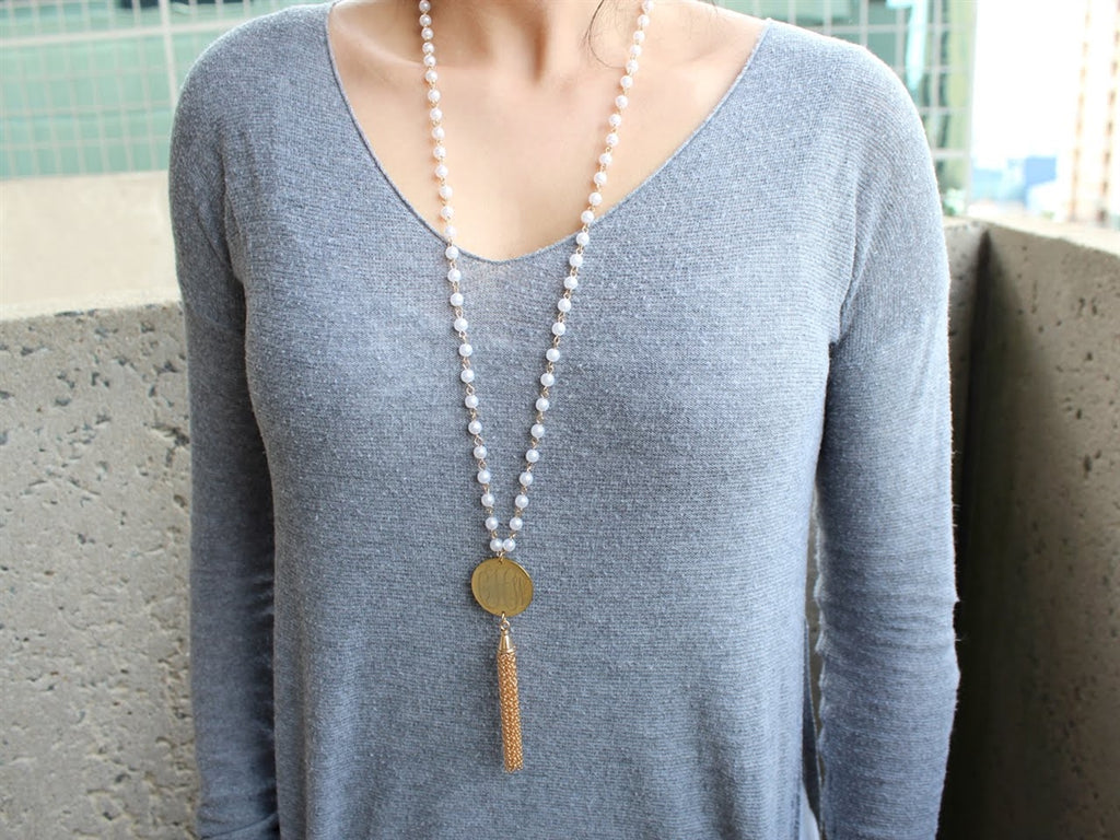 Pearl Tassel Necklace - Allyanna Gifts