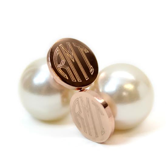 Stainless Steel Rose Gold Monogram Earrings with Pearl Backs