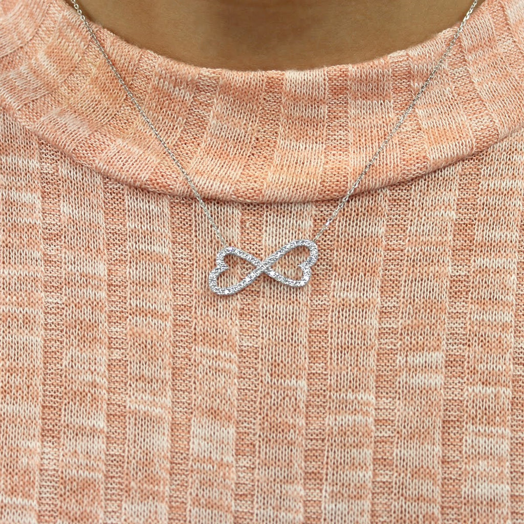 Sterling Silver CZ Infinity Hearts Pendant Necklace - Allyanna Gifts