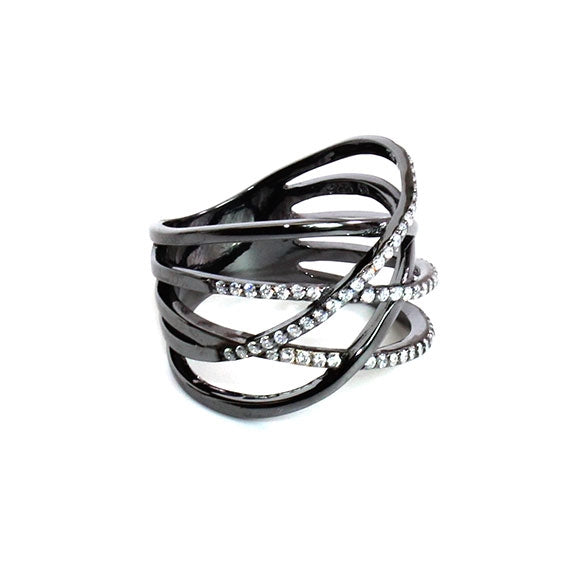 Sterling Silver Black Helix Ring - Allyanna Gifts